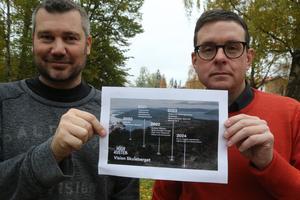 Olle Lidgren och Patrik Asplund hör till de från Kramfors kommun som engagerar sig i frågan om Skulebergets utveckling. Här med den nya visionen näringen tagit fram.