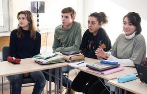 Amelie Barrling, Erik Hårrskog, Farah Ahmed Salim och Lina Lindner Snitwongse, elever på  Falu Frigymnasium, räknar med fördelar av sina tyskakunskaper efter gymnasiet,  exempelvis för studier utomlands och för chanserna att få jobb.