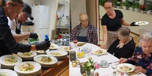 Bakad torskrygg, blomkålspuré och vitvinssås från Kulinariet stod bland annat på menyn när de boende på Skedvigården fick en kväll med guldkant.