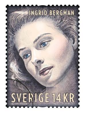 Ett av PostNordsfrimärken på skådespelerskan Ingrid Bergman.
