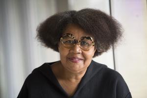 Författaren Jamaica Kincaid, på årets bokmässa. Foto: Fredrik Sandberg / TT