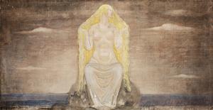 Alla åtrår den vackra kärleksgudinnan Freja. Målning av John Bauer.