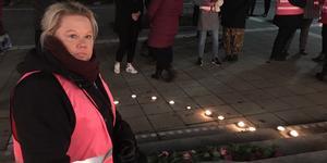 Ann- Sofie Rebermark under manifestationen till minne av Velmira Fedorenkos tidigare i år.