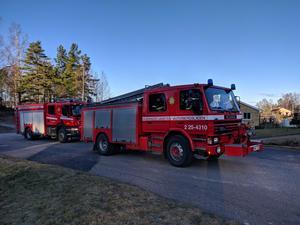 Räddningstjänsten lämnar Grängesberg efter utfört uppdrag.