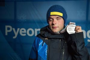 Modin tar hem ett silver efter sin insats i Paralympics i Peyongchang.Foto: Jessica Gow / TT