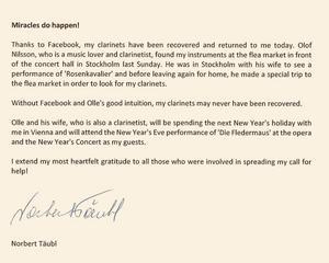 Norbert Täubls tack på Facebook.
