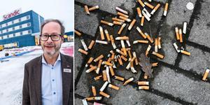 Anders Nilsson, hotelldirektör på Scandic Örnsköldsvik, undrar var rökarna ska hänvisas efter 1 juli.