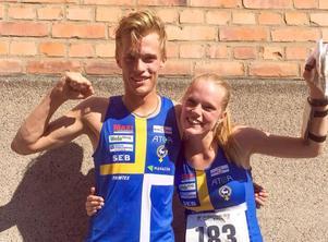 Isac och Vilma von Krusenstierna från OK Kåre  vann SM-guld i H20 respektive D20 nyligen. Nu får syskonen åka till junior-VM tillsammans. Foto: Lars Gustafsson
