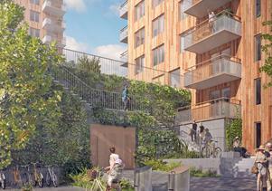 De planerade husen på Höjdgatan passar inte i Nynäshamn, anser Signhild Gehlin. Illustration: BTH Bostad