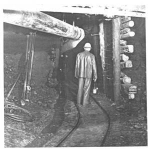 I botten av hålet vid Salaborg kan det se ut så här under allt vatten. Bilden tagen i mitten av 1950-talet. Foto: Arkivet Sala bly