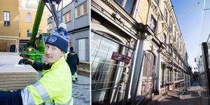 Anton Englund är en av de som renoverar Stadshuset, ett arbete som väntas pågå till december 2021.