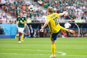 Emil Forsberg under matchen mot Mexiko i VM. Nu kan han vara på väg till Everton. Foto:  Petter Arvidson / BILDBYRÅN /
