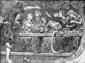 Loke beskyller gudarna för olika missgärningar och avslöjar deras mörkaste hemligheter. Illustration av W.G. Collingwood från 1908.