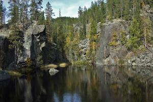 Tjärnen är resterna av en kolksjö som svarvats ut vid foten av en isälvs vattenfall. foto: Leif Vestin
