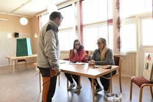 EU-val i röstningslokalen i Storsätern i Idre. Peter Anderssons röst tas emot av Sofie Persson och Anette Olsson Gustafsson.
