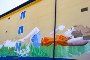Den nya muralmålningen sträcker sig över Arkivcentrums ena långsida.