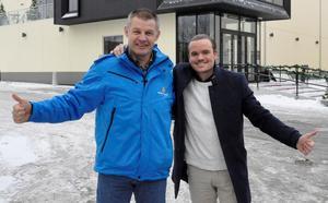 Jimmy Birklin, vd på Svenska Skidspelen och Robin Sjöblom, vd på Falun Bowling och Krog förbereder tvåhäftiga efterfester under skidspelshelgen. Foto: Svenska Skidspelen.