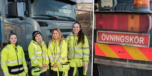 Janette Karlsson, Zarah Andersson, Jonna Hellberg och Sanna Högberg har alla siktet inställt på ett yrkesliv där de får köra tunga fordon av olika slag.
