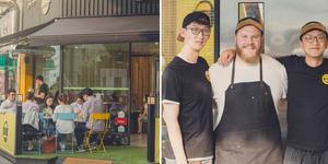 Ägaren Joe Morris (i mitten) tillsammans med de sydkoreanska investerarna. Foto: Eric Nyberg