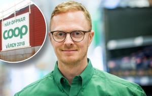 Erik Nilsson, butikschef på Coop Falun. Bilden är ett montage.