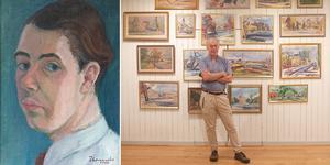 Clas Thor mitt i utställningen med Thomander-målningar i Wadköpingsrummet. Foto: Självporträtt Harry Thomander / Privat
