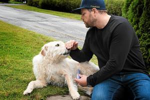 Hunden Arthur tar handen i sin mun om han inte känner sig trygg. Annars stryker han nosen mot handen visar husse Mikael Lindnord.