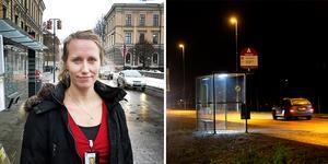 – En cirkulationsplats är den mest trafiksäkra lösningen, men också den dyraste, säger Marie Grew, trafikplanerare på Livsmiljö Gävle.  Foto: Magnus Lundquist och Annakarin Björnström