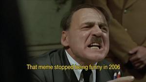 Bruno Ganz som Adolf Hitler, som blir arg på det ena och det andra.