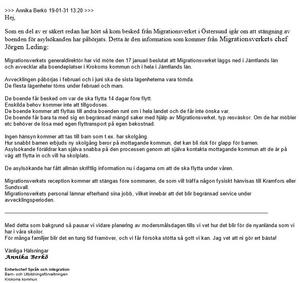 Det mejl som skickades ut till modersmålsenheten i Krokoms kommun.