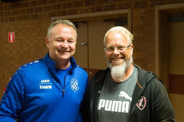 Hövdingar. Fredrik Gustafsson, ordförande i Nykvarns SK och Jonas Engdahl, ordförande i New Mill Indians.