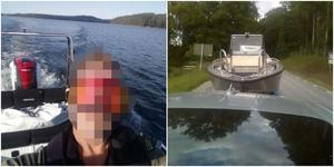 Till vänster: Grödingebon som tar en selfie när han kör en stulen båt – nu bevismaterial i åtalet mot honom. Till höger: En stulen båt på släp som  enligt åklagaren fraktas till Södertäljeföretagaren av de andra två åtalade i ärendet. Foto: Ur förundersökningen.