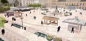 En skiss i den förra planen för Stora torget. Nu ska man lyssna mer på Sundsvallsborna innan en ny plan kan ta form.