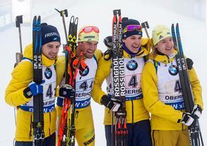 Jesper Nelin, Fredrik Lindström, Martin Ponsiluoma och Sebastian Samuelsson tog hem stafetten i Oberhof den 7 januari. I februari åker de troligen stafetten för Sverige i OS.