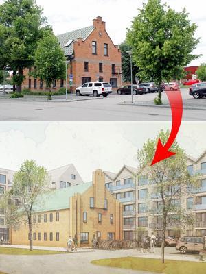Den gamla Arkivbyggnaden blir kvar och får nya bostadshus som grannar.  Foto: Britt-Louise Bergström/Archus Arkitekter