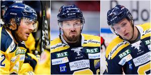 SSK-spelarna Christopher Liljewall, Nicklas Grossmann och Christopher Bengtsson är skeptiska till de föreslagna ändringarna i upp- och nedflyttningssystemet. Foto: Bildbyrån.