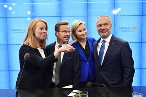 2.85 är oddset hos Unibet att Annie Lööf (C), Ulf Kristersson (M), Ebba Busch Thor (KD) och Jan Björklund (L) bildar ny regering.Foto: Henrik Montgomery / TT