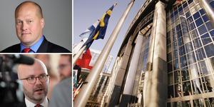 """""""Sverigedemokraternas inställning är att svenska löntagares rättigheter skall beslutas av svenska folket själva – inte av politiker i Bryssel"""", skriver SD-politikerna  Sven-Olof Sällström  och Charlie Weimers. Foto: TT/Montage"""