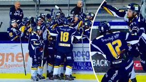 Borlängejubel efter Marcus Anderssons 1–0-avgörande på Mariestad. Foto: Jörgen Notes