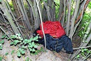 Efter rånarnas flyktväg hittade polisen en ryggsäck med bland annat kläder som tros ha tillhört gärningsmännen. Bild: Polisens förundersökning
