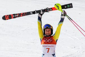 Frida Hansdotter vann OS-guld i slalom. Foto: TT