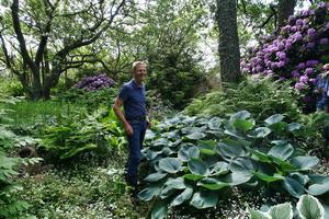 Torsten Wallin visade upp sin vackra trädgård.Foto: Anette Holm