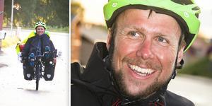 Sedan onsdag kväll är Johan Sjölund tillbaka i Färila efter sin 160 mil långa cykelfärd från Nordkap. Foto: Staffan Bergner