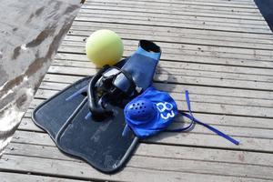 Utrustningen som krävs förutom en bassäng och korgar som mål är badkläder, fenor, cyklop, mössa och boll.