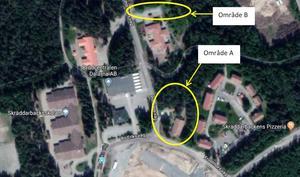 Bild från förundersökningen. Det nedre området har undersökts, men någon pistol har ej hittats. Den övre ringen kunde ej sökas av eftersom hus byggts på platsen, nämns i utredningen.