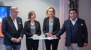 Södertäljes politiska majoritet – Tage Gripenstam (C), Hanna Klingborg (MP), Boel Godner (S) och David Winerdal (KD).