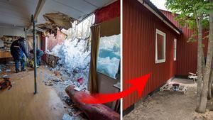 Taket gav vika för snömassorna – och då brakade hela väggen. Nu finns äntligen en ny vägg på plats.