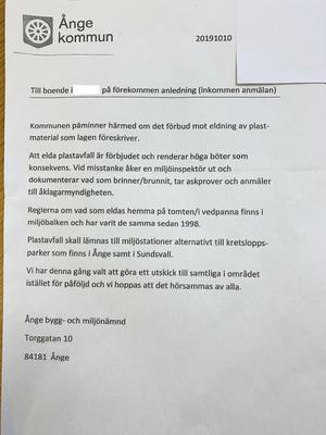Brevet som en boende i Ånge kommun fick i brevlådan.
