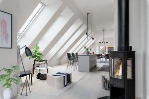 Renderad bild hur det kan se ut inne i lägenheten. Bild: Fastighetsbyrån Hudiksvall/Nordanstig.