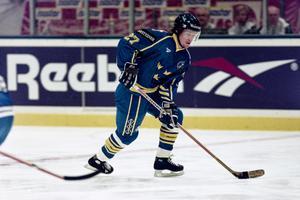 Tomas Forslund i Tre Kronor-tröjan under VM-finalen mot Finland i Globen 1995. Foto: Bildbyrån