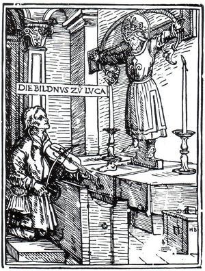 Hans Burgkmairs träsnitt från 1507 föreställande helgonet Kummernis.